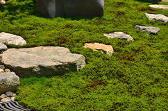 Stone path of Japanese garden, Kyoto Japan. Royalty Free Stock Images