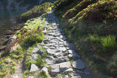 Stone path leadig along mountain lake Stock Image