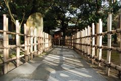 A path. A stone path lined with a fence made from bamboo trees Stock Image