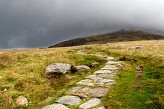 Stone path in the mountains Stock Photo