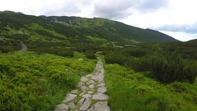 Stone path in mountains. Walking by stone path in mountains stock video