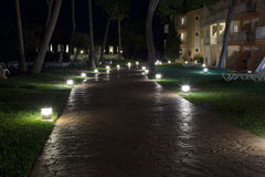 Stone path at night Royalty Free Stock Photos