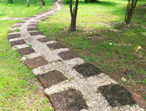 Stone path in outdoor park Royalty Free Stock Photos