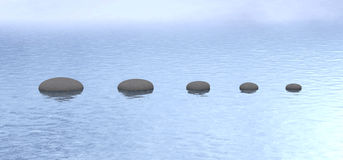 Stones path peaceful pond water vector illustration