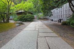 Stone Path to Tea House. At Japanese Garden stock images
