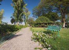 Stone path through tropical ornamental rural garden royalty free stock photography