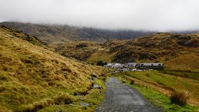 Stone Path with Village Houses in Snowdon, Wales, United Kingdom royalty free stock images
