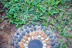 Stone path walkway in garden Royalty Free Stock Images