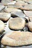 Stone path in water garden stock photos
