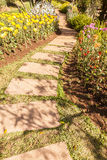 Stone path winding in fresh spring flower garden Royalty Free Stock Image