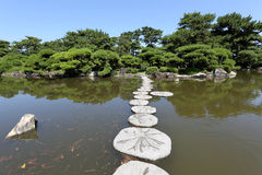 Stone path. Zen stone path in a Japanese Garden Royalty Free Stock Photography