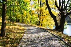 A stone pathed path by a lake Stock Image
