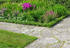 Stone paths in a flowering garden Stock Photography