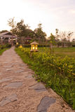 Stone pathway. In the garden to hut homestay in thai mountain Stock Photography