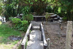 Stone Pathway. A stone pathway bridge towards a tree can be seen in Paradise Ranch Pampanga Philippines Stock Photo