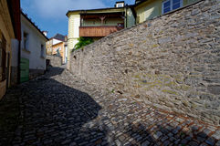 Stone pathway laid all over the street Stock Image