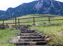 Stone pathway with mountain background Royalty Free Stock Photo