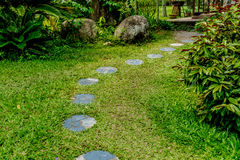 Stone Pathway in the park. Circle Gray stone pathway in the park Stock Photography