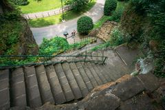 Stone Pathway Walkway Lane Path With Green Trees Stock Images