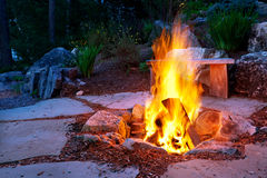 Stone patio with fire pit Royalty Free Stock Photos