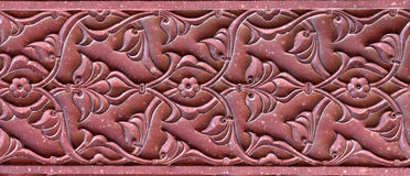 Stone pattern on a temple wall in Red Fort, Agra Stock Photo