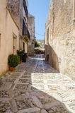 Stone Paved Old Street in Erice, Sicily Royalty Free Stock Image