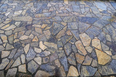 Stone paved seawall path. By a marina, False Creek, Vancouver, British Columbia, Canada Royalty Free Stock Photo