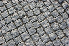 Stone pavement. Traditional portuguese stone pavement in diagonal Stock Photos