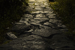 Stone pavement with backlight Royalty Free Stock Photo