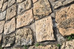 Stone pavement in detail and in perspective Royalty Free Stock Photography