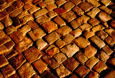 Stone pavement in the light of the setting sun Stock Photography