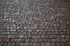 The stone pavement. Pavement of cobblestones Royalty Free Stock Photos