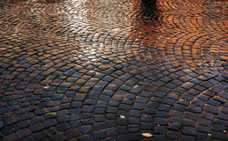 Stone pavement after the rain Royalty Free Stock Images