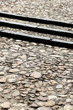 A stone pavement with three steps, detail Stock Photo