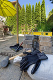 Stone Pavers and Tools for Backyard Hardscape Royalty Free Stock Photo