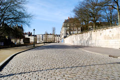 Stone paving in Nantes. Near the castle in winter royalty free stock photo