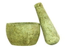 Stone Pestle and Mortar Isolated Royalty Free Stock Photo