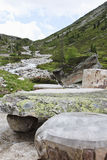 Stone picnic table in Tyroler Ziller Valley, Austr Stock Photo