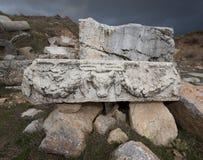 Stone Piece with Ram Head Stock Photos