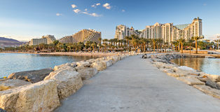 Stone pier at central beach in Eilat, Israel Royalty Free Stock Photos