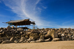 Stone pier  hut Royalty Free Stock Image