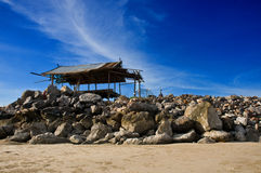 Stone pier  hut Royalty Free Stock Photos