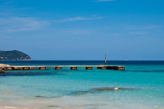 Stone pier and Mediterranean Sea on Majorca Stock Images