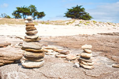 Stone pile in the beach Royalty Free Stock Photos