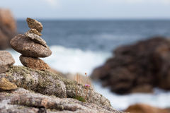 Stone pile at the rocky coast Royalty Free Stock Image