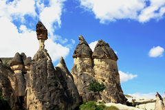 Stone pillars in Cappadocia royalty free stock image