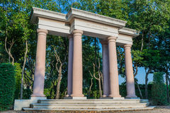 Stone pillars in the garden Stock Image