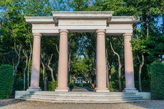 Stone pillars in the garden Stock Photos