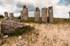 Stone pillars near the city of Varna in Bulgaria Stock Photos