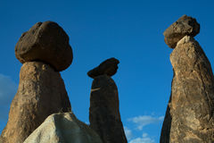 Stone pillars with top hats. stock photo